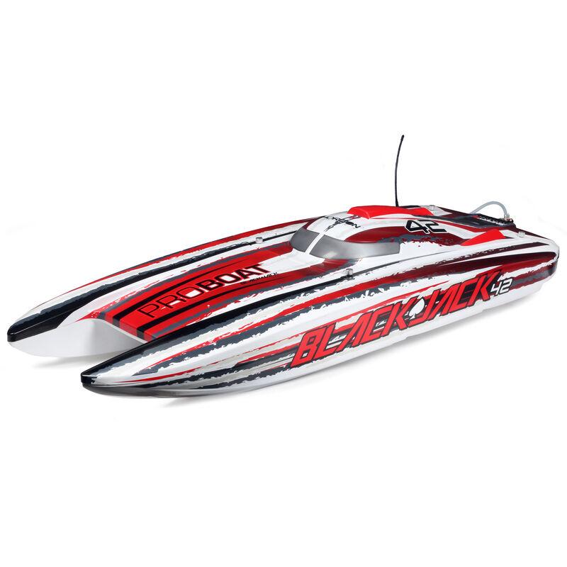 """Blackjack 42"""" 8S Brushless Catamaran RTR: White/Red"""