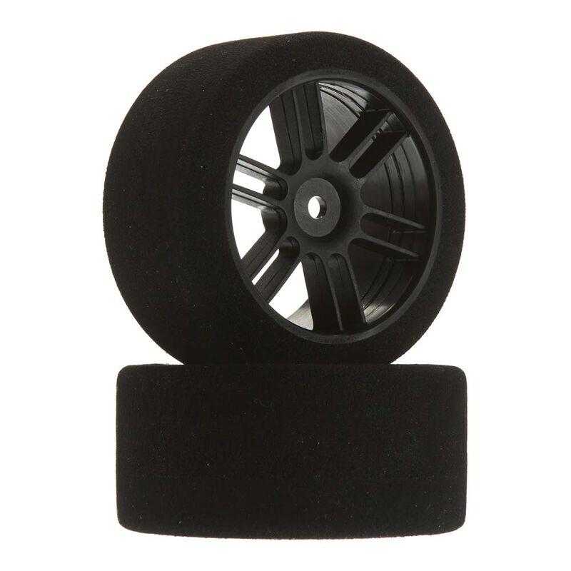 1/10 30mm Nitro Touring Foam Tires, Mounted, 40 Rear, Black Wheels (2)