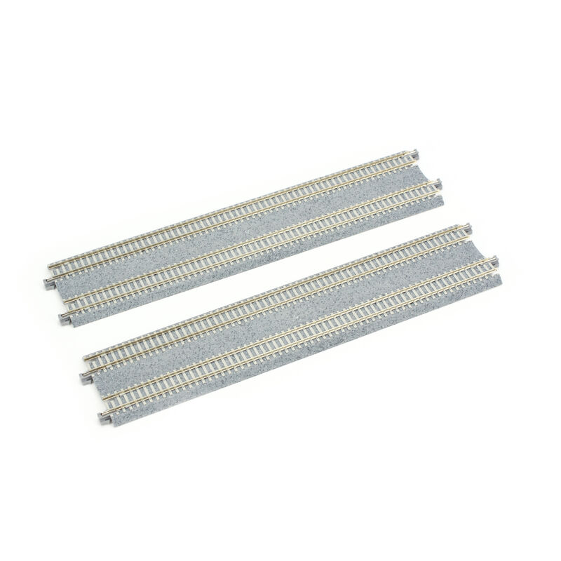 """N 9-3/4"""" Double Track Straight, Concrete Ties (2)"""