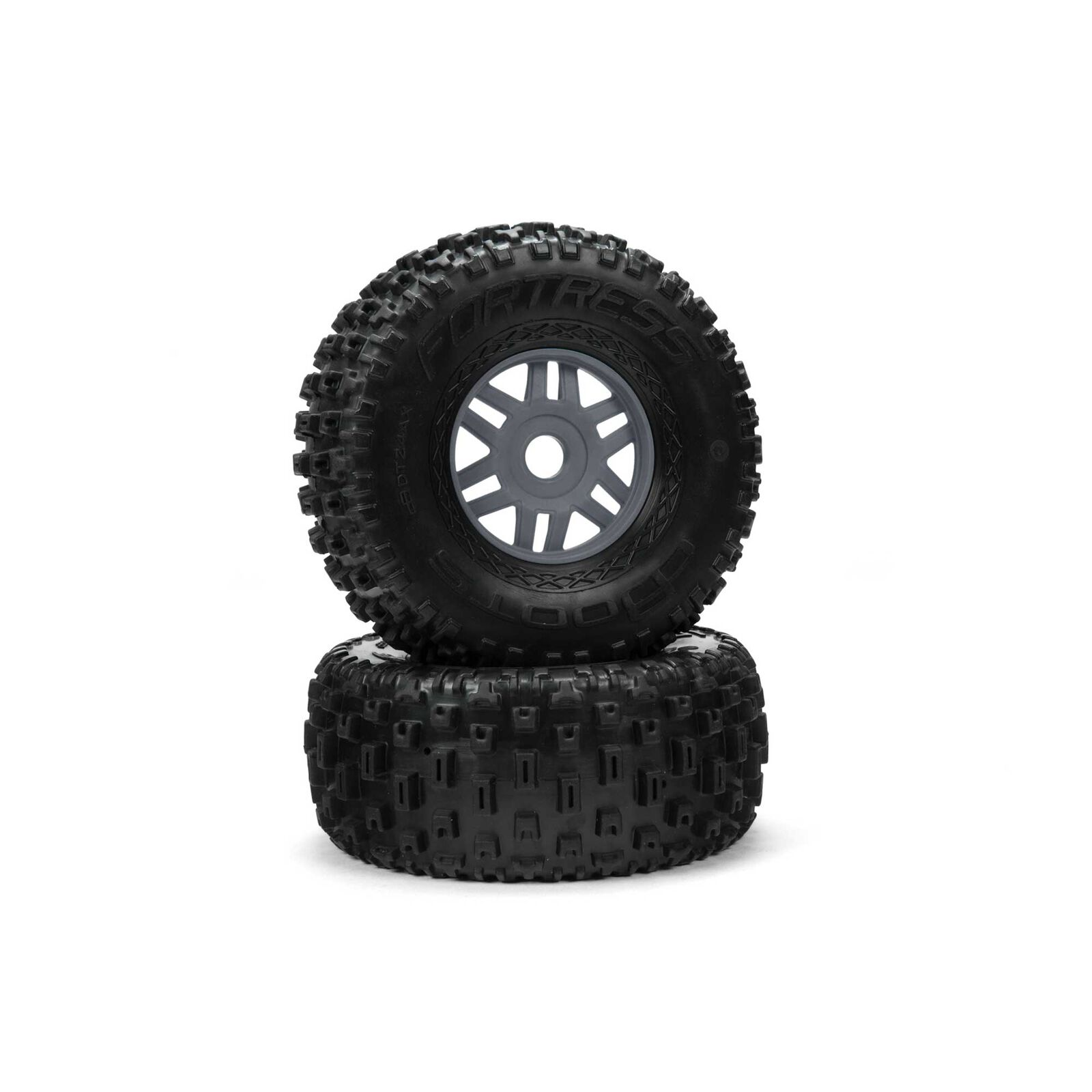 1/8 dBoots Fortress Front/Rear 2.4/3.3 Pre-Mounted Tires, 17mm Hex, Gunmetal (2)