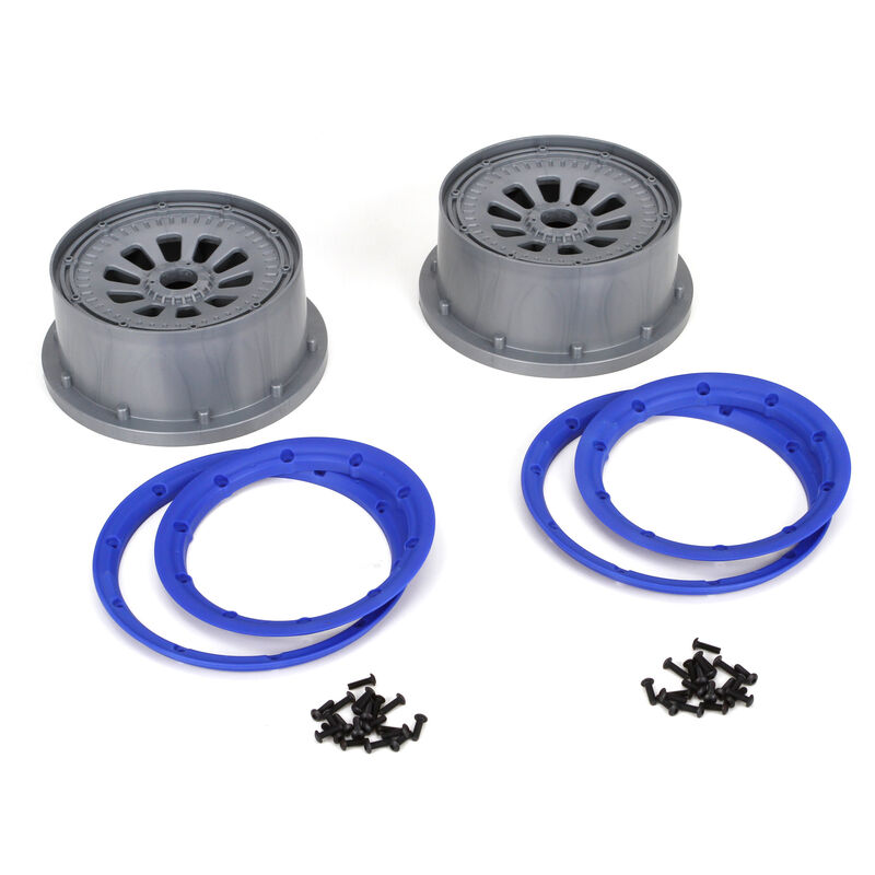 1/5 Wheel and Beadlock Set 4.75, 24mm Hex, Blue (2): 5IVE-T