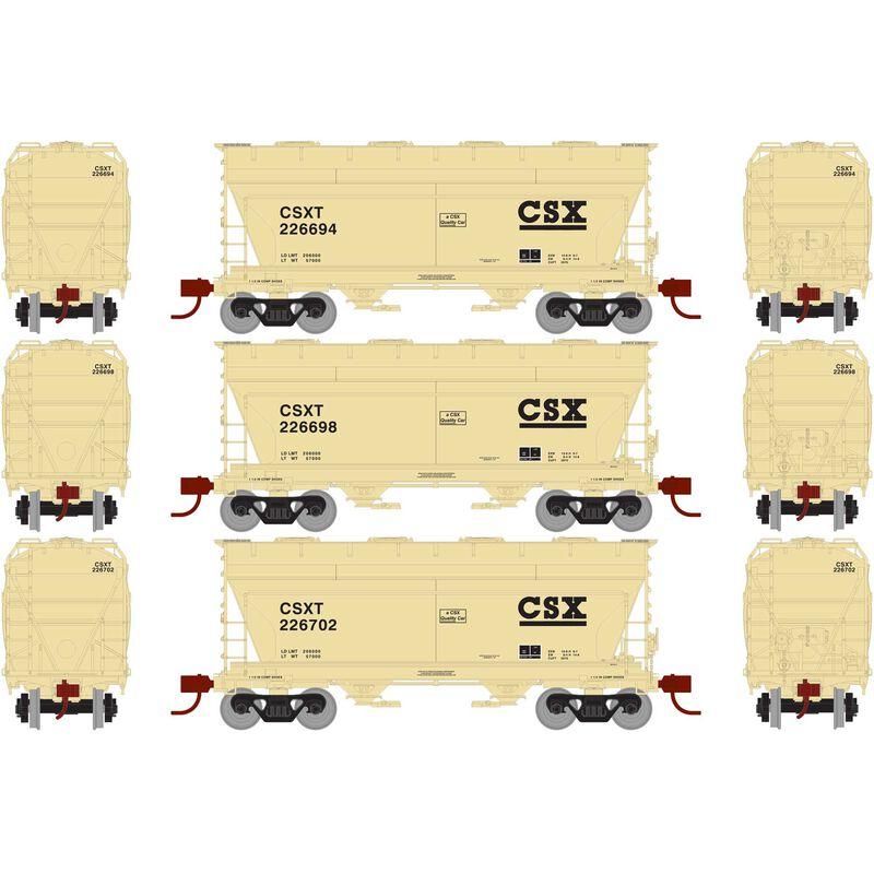 N ACF 2970 Covered Hopper, CSX Tan  (3)