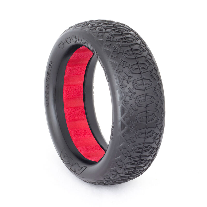 1/10 Chain Link EVO 2WD Clay Front Tire with Red Insert: Buggy (2)