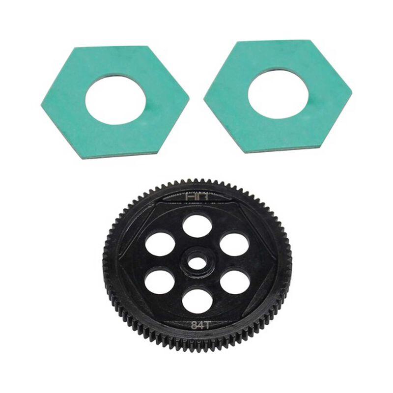 Steel Spur Gear & Slipper Pads, 48p 84t: 22S