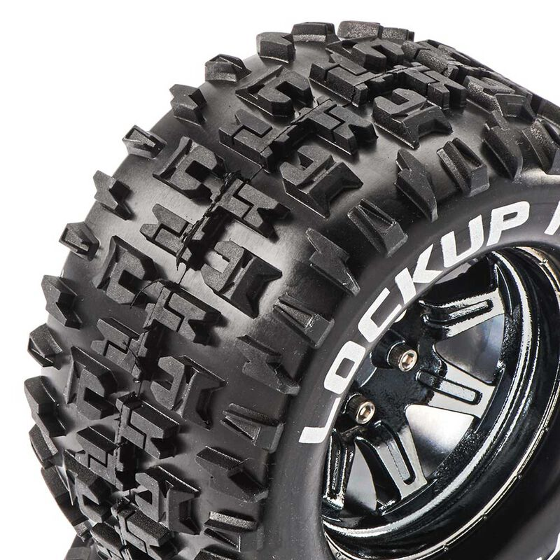 Lockup MT 2.8 Mounted Tires, Chrome 14mm Hex(2)