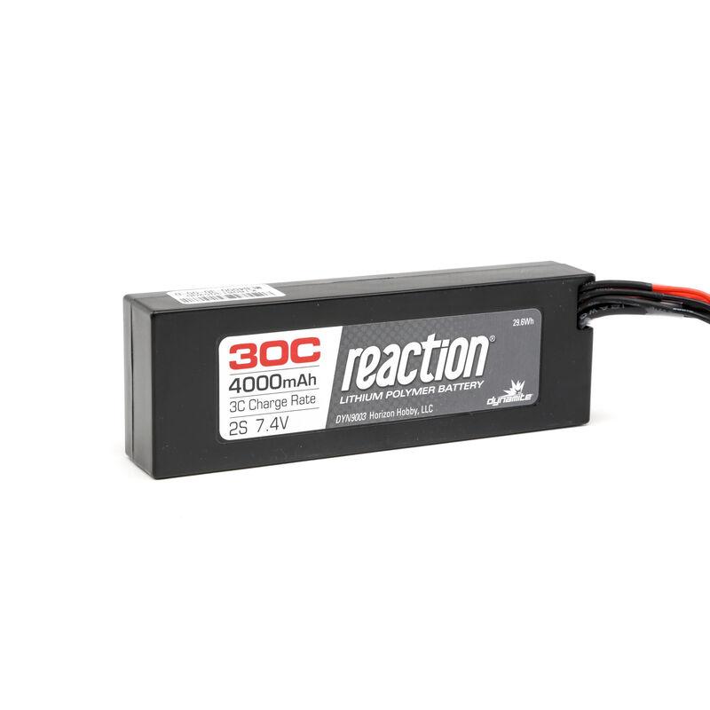 7.4V 4000mAh 2S 30C Reaction Hardcase LiPo Battery: EC3