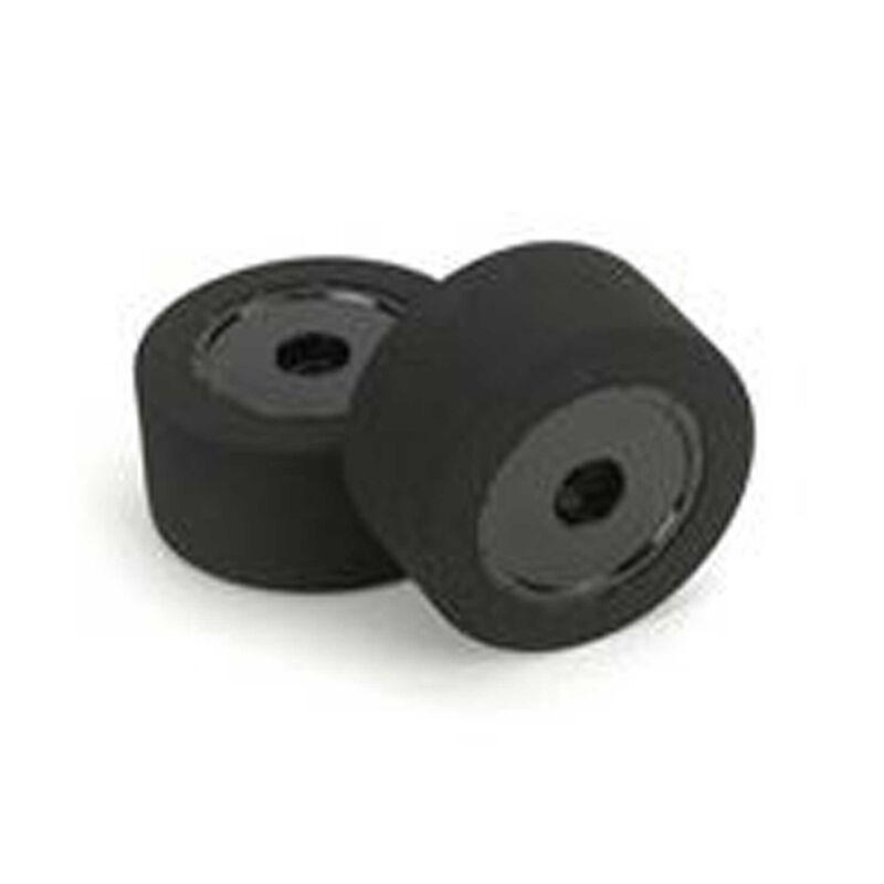 1/10 26mm Foam Touring Tires, Mounted, XX Orange, Black Wheels (2)