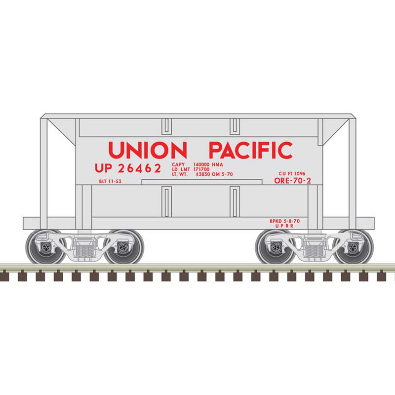 N 70 Ton Ore Car Union Pacific 26492, Silver/Red