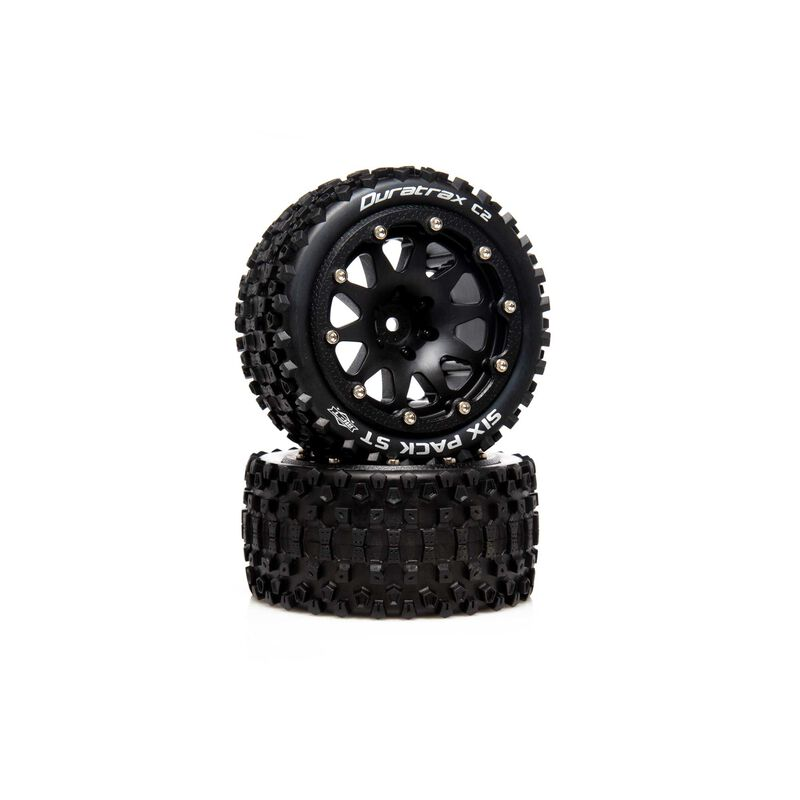 """Six Pack ST Belted 2.8"""" 2WD Mounted Rear Tires, .5 Offset, Black (2)"""