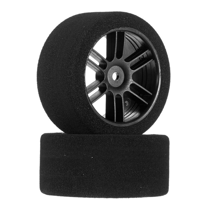 1/10 30mm Nitro Touring Foam Tires, Mounted, 35 Rear, Black Wheels (2)