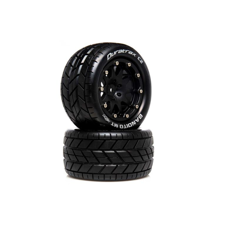 "Bandito MT Belted 2.8"" 2WD Mounted Rear Tires, 0 Offset, Black (2)"