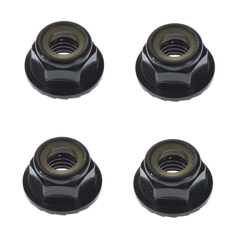 M5 Locknuts Aluminum Flanged Serrated, Black (4)