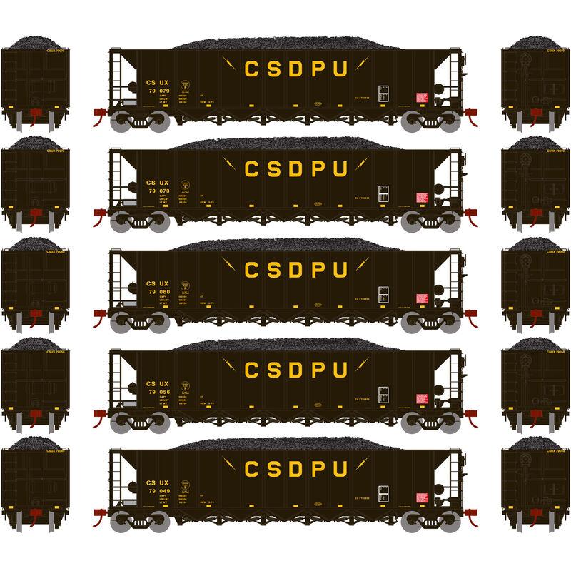 HO RTR 5-Bay Rapid Discharge Hopper CSUX #2 (5)