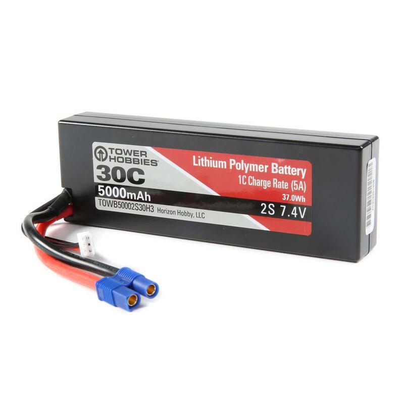 7.4V 5000mAh 30C 2S LiPo, Hardcase: EC3