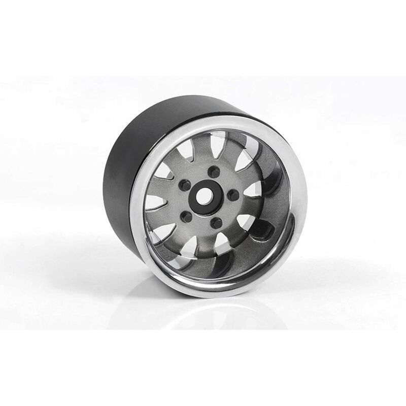 """1.9"""" 5 Lug Steel Wheels with Beauty Ring (Silver)"""
