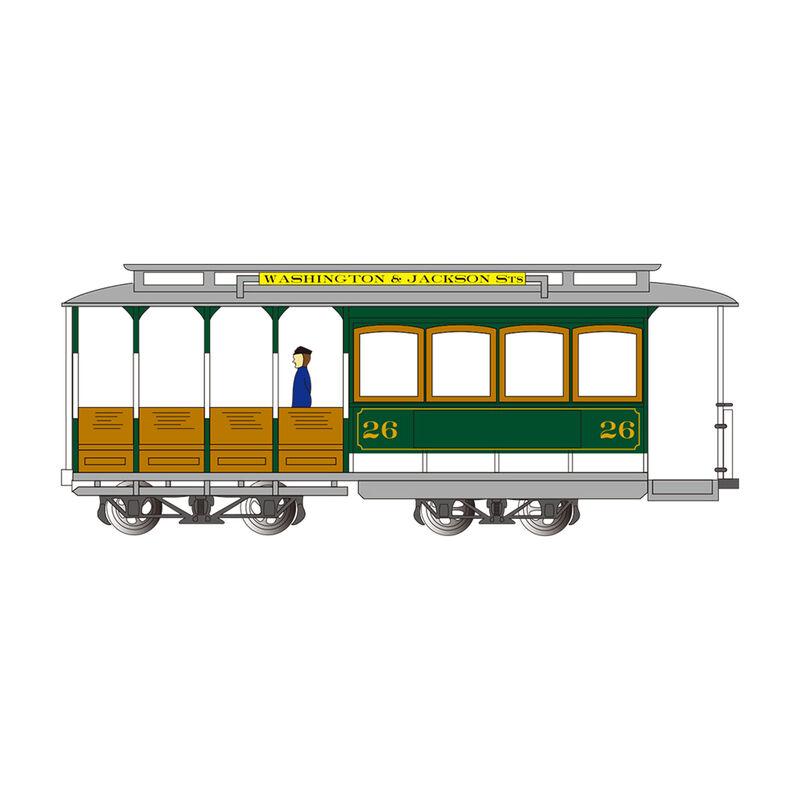 HO Cable Car Green & Gray