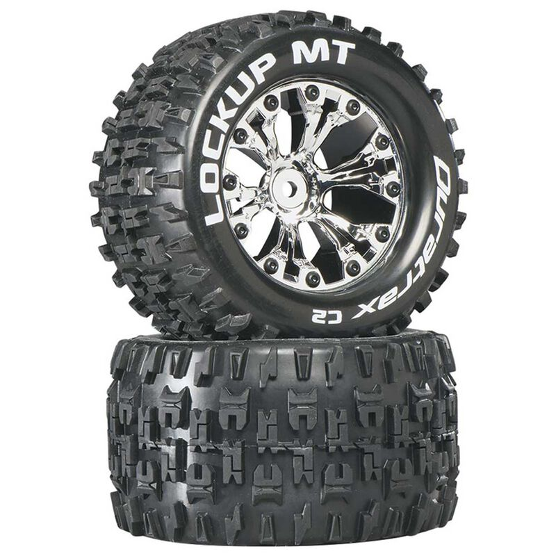 "Lockup MT 2.8"" 2WD Mounted Rear C2 Tires, Chrome (2)"