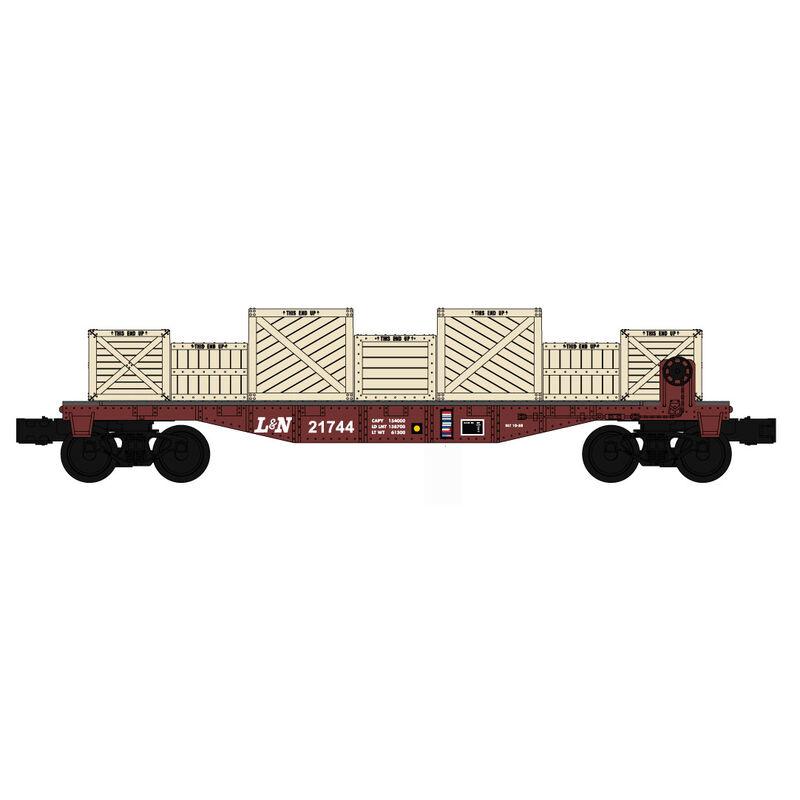 O-27 Williams 40' Flat w/Crate Load, L&N