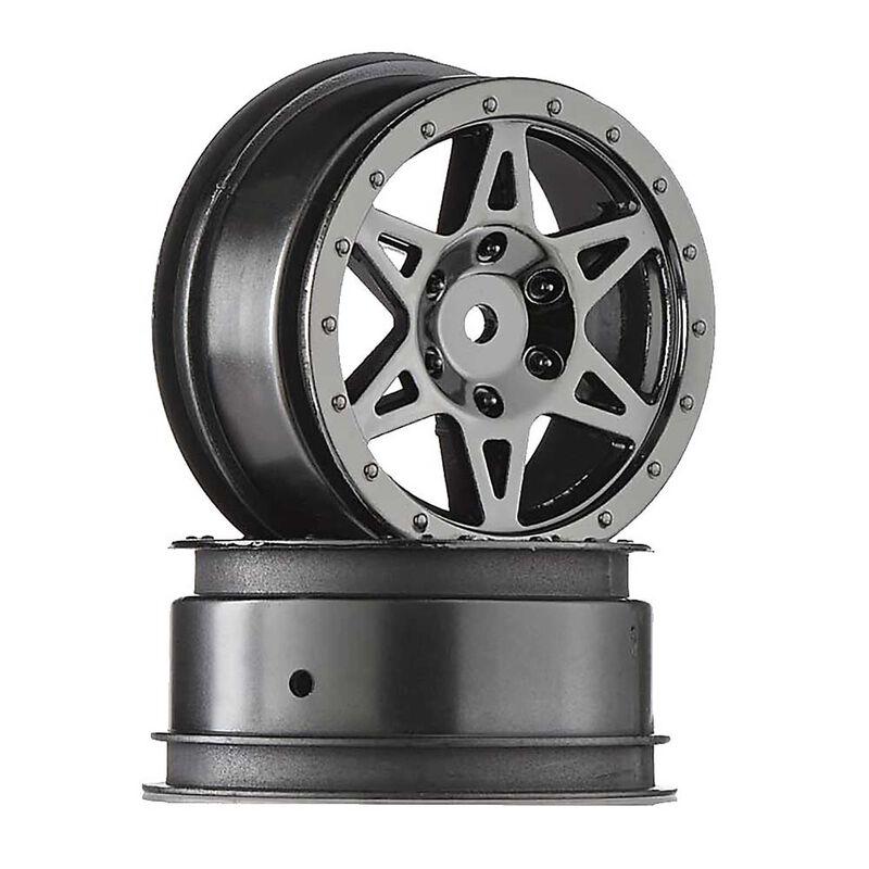1/10 Front 2.2/3.0 Wheels, 12mm Hex, Black Chrome: Raider