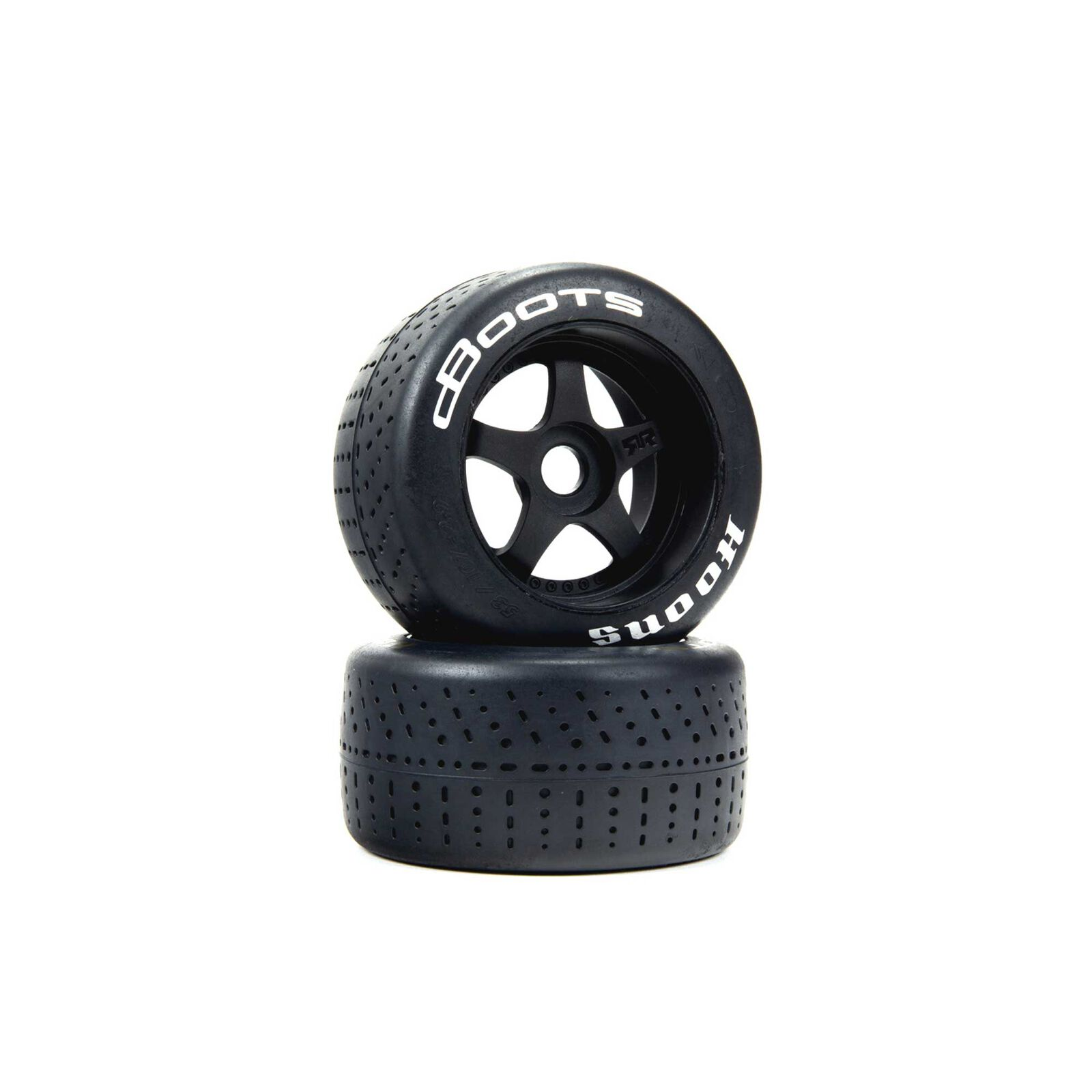 1/7 dBoots Hoons Rear 107 Silver Pre-Mounted Belted Tires, 17mm Hex (2)