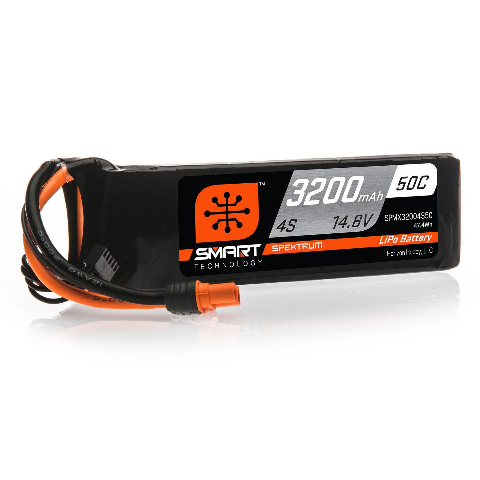 14.8V 3200mAh 4S 50C Smart LiPo Battery: IC3
