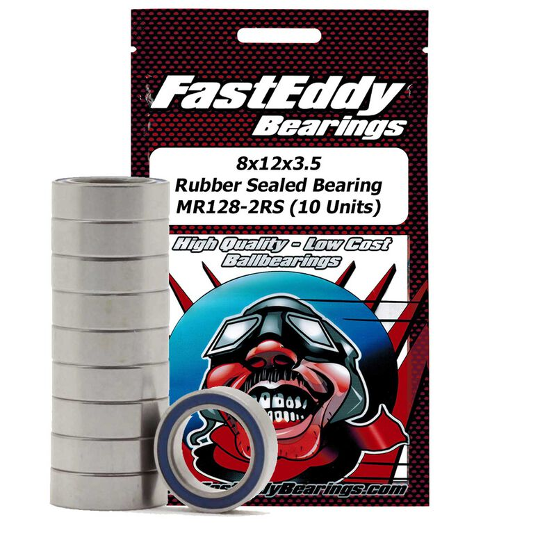 8x12x3.5 Rubber Sealed Bearing, MR128-2RS (10)