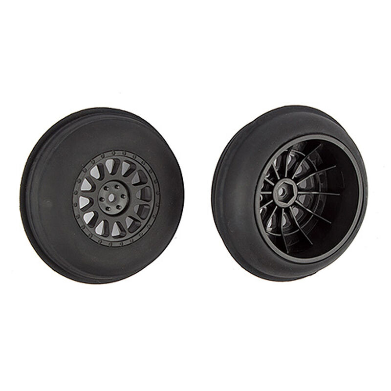 1/10 Sand Ribbed Front Pre-Mounted Tires & Method SC Wheels, Black (2)