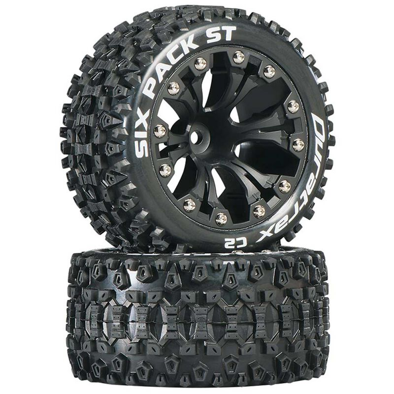 """Six Pack ST 2.8"""" 2WD Mounted 1/2"""" Offset Tires, Black (2)"""