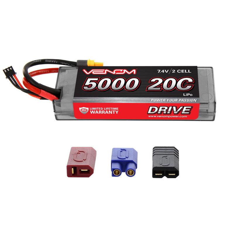 7.4V 5000mAh 2S 20C DRIVE Hardcase LiPo Battery: UNI 2.0 Plug