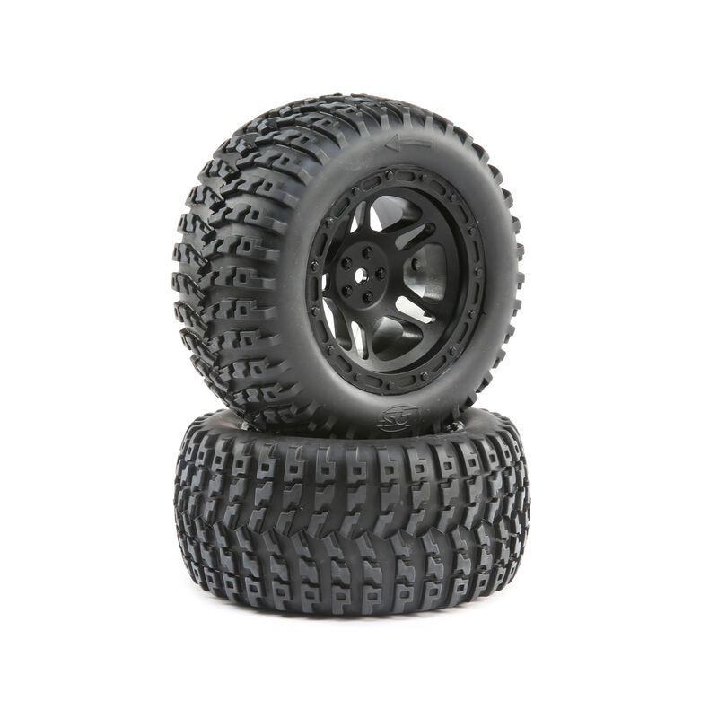 1/10 Front/Rear 2.8 Pre-Mounted Tires, 12mm Hex, Black (2): 22S ST