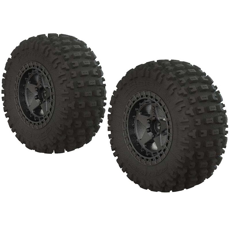 1/10 dBoots Fortress SC 2.2/3.0 Pre-Mounted Tires, 14mm Hex, Black Chrome (2)