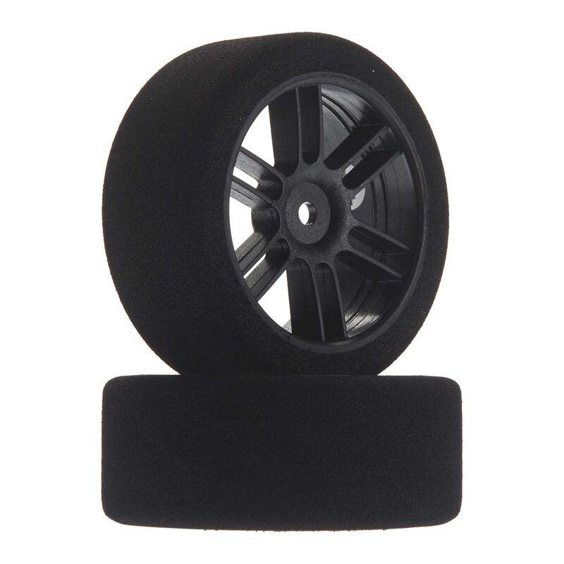 1/10 26mm Nitro Touring Foam Tires, Mounted, 40 Front, Black Wheels (2)