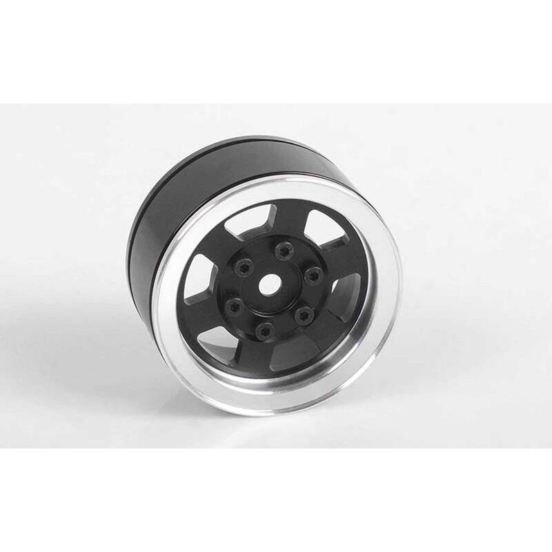 """1/10 Six-Spoke 1.55"""" Front/Rear Internal Beadlock Wheels, 12mm Hex, Black (4)"""