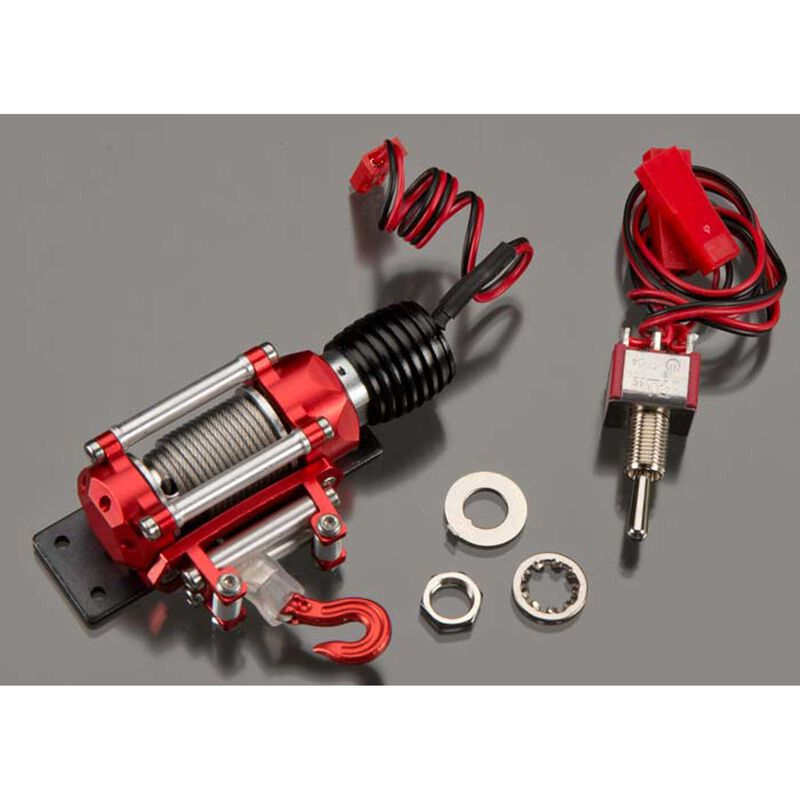 Realistic Power Winch, Red: 1/10 Rock Crawler