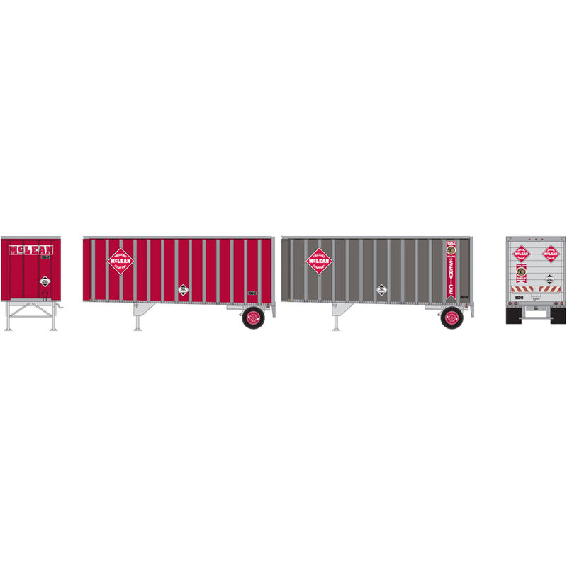 HO RTR 28' Trailers w/Dolly, McLean (2)