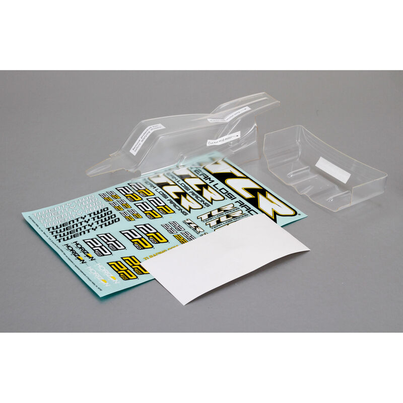 Cab FWD Body & Wing Set, Clear with Stickers: 22 2.0