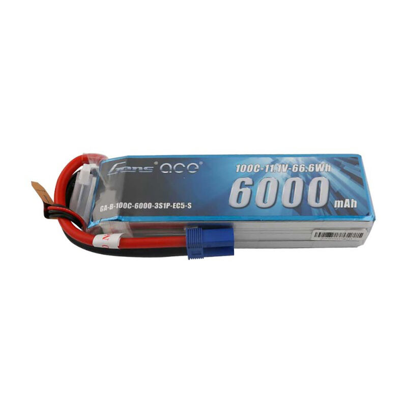 11.1V 6000mAh 3S 100C Lipo: EC5