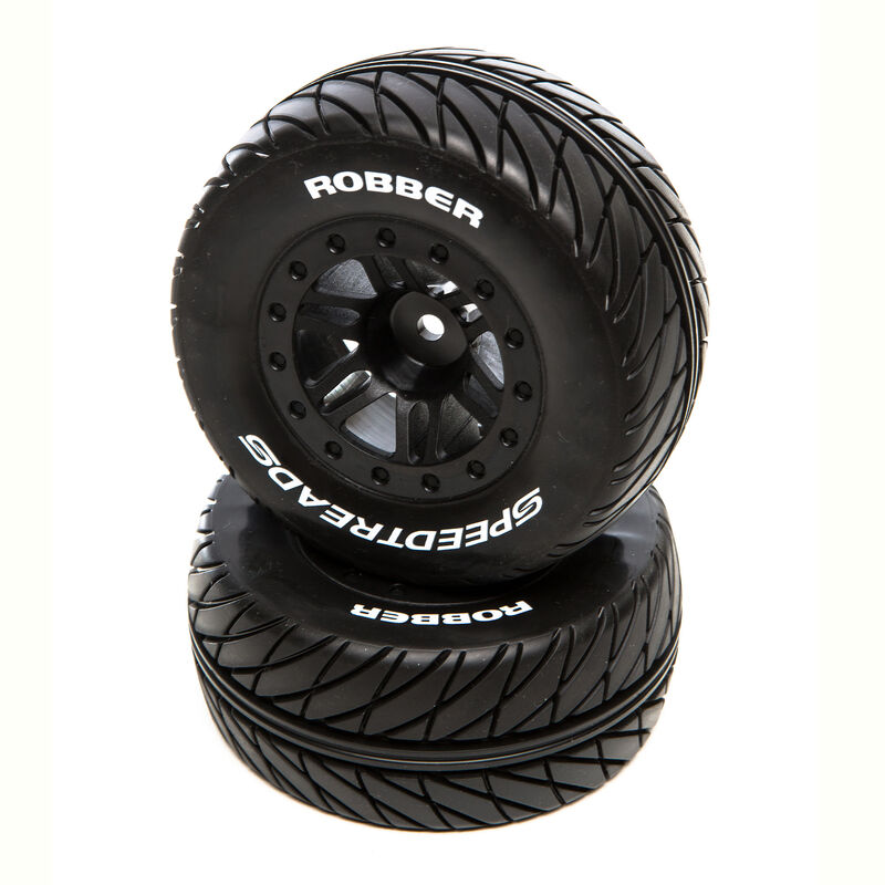 SpeedTreads Robber SC Front Rear Black Mounted: Traxxas Slash/Rustler, ECX 4X4