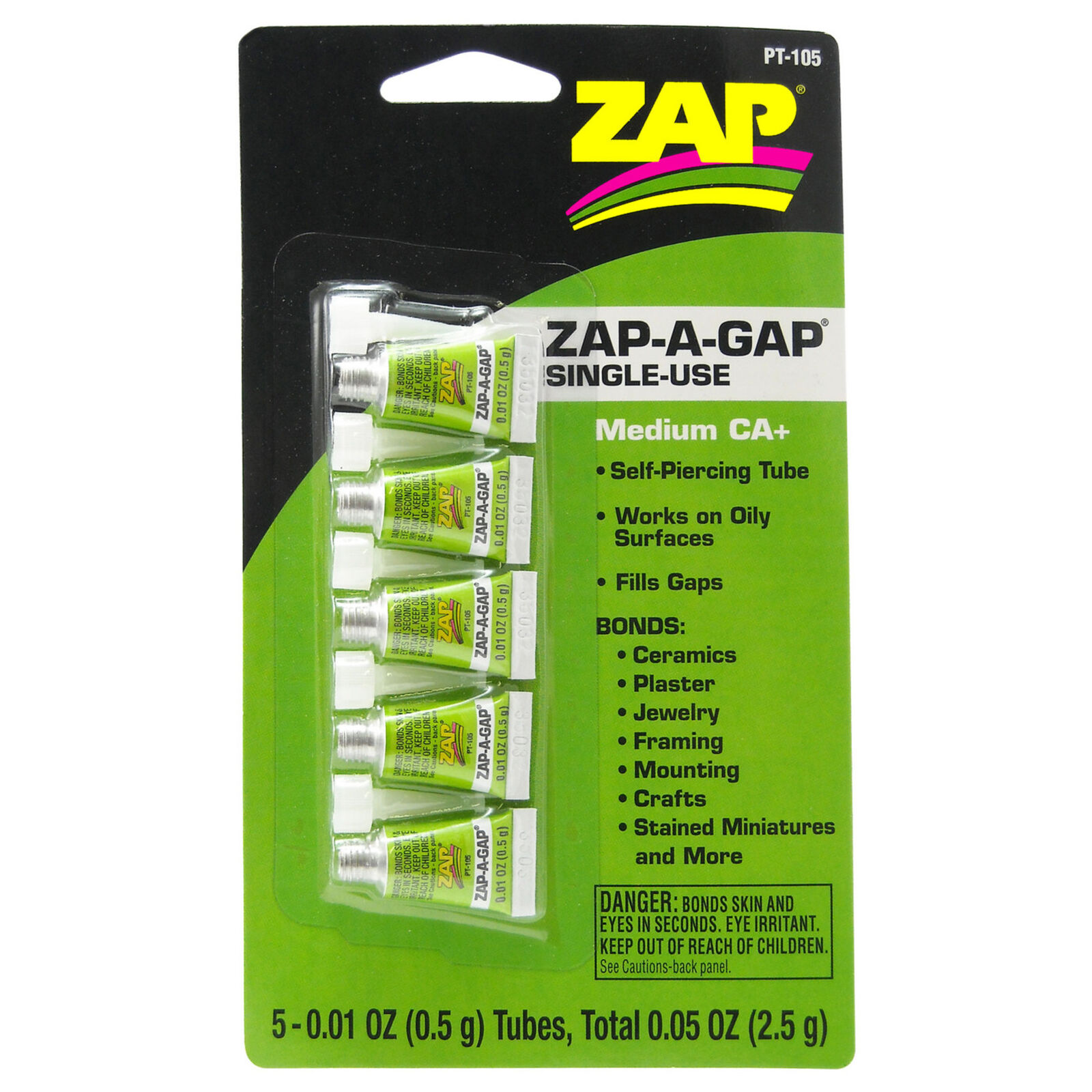 Zap-A-Gap Medium CA+ Single Use Tubes, 5 x 1/2 gram, Carded