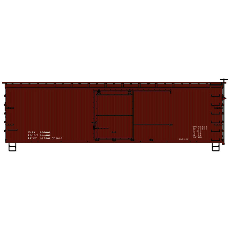 HO KIT 36' SE DS Fishbelly Box Data Only Red 1940