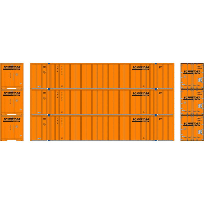HO RTR 53' Stoughton Container, Schneider (3)
