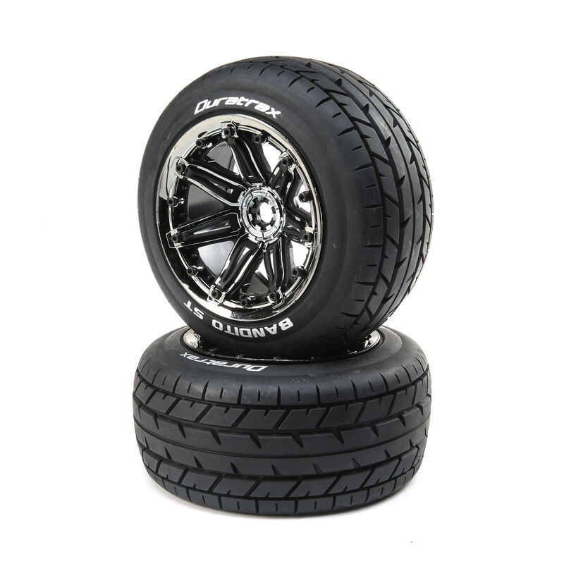 Bandito 1/8 ST Sport Mounted Black Tires with Chrome 17mm (2)