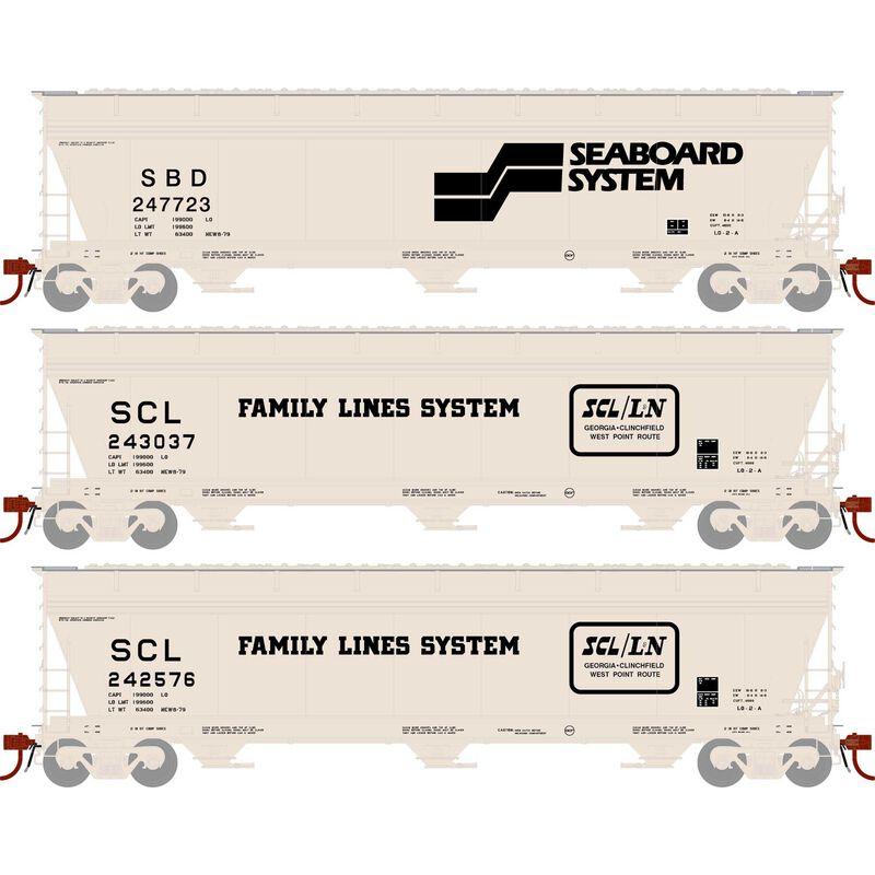 HO ACF 4600 3-Bay Centerflow Hopper, SCL/SBD (3)