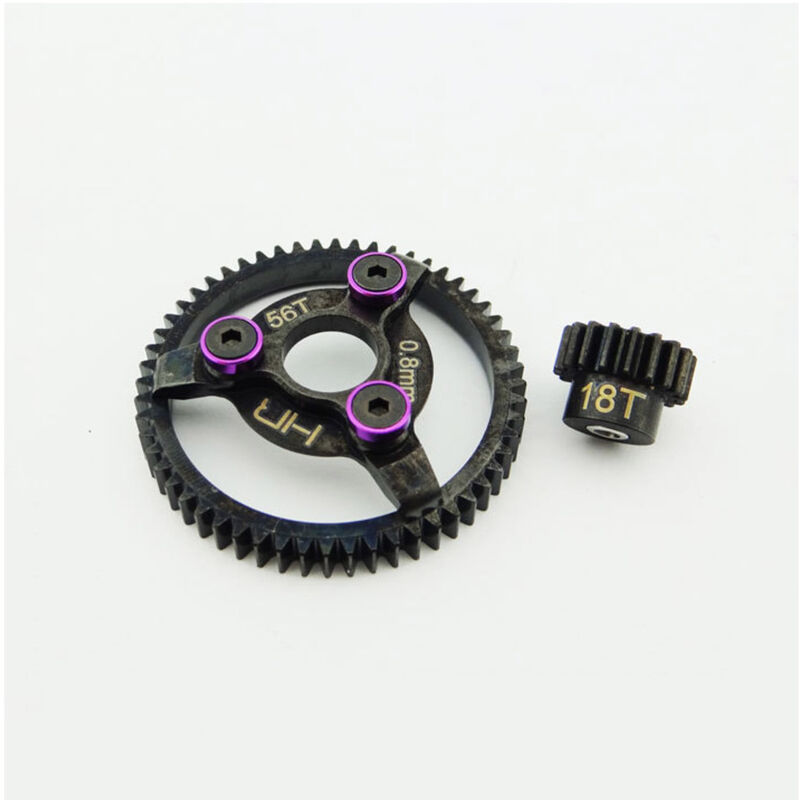Steel Pinion and Spur Gear 18t 56t 32p, Purple: Traxxas