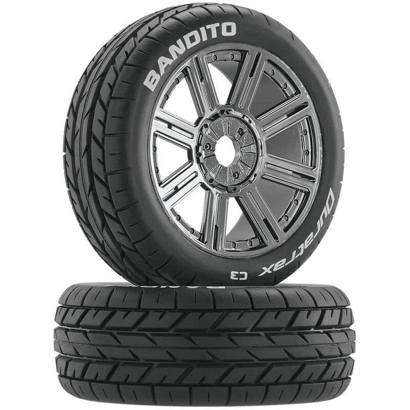 Bandito 1/8 Buggy Tire C3 Mounted Spoke Tires, Chrome (2)