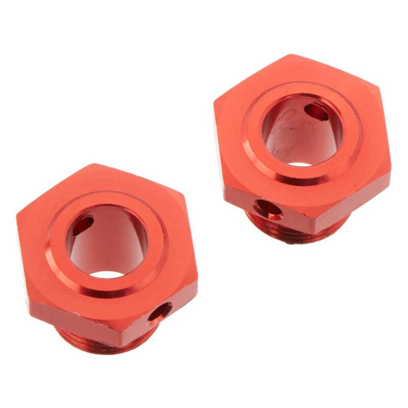 Wheel Hex Aluminum 17mm (13.6mm Thick) Red (2)