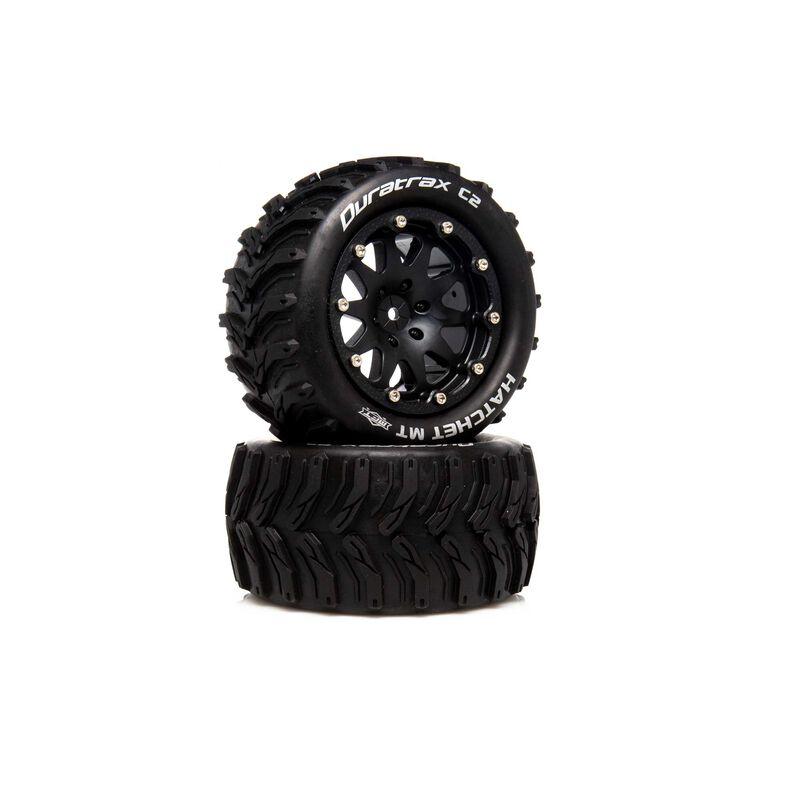 """Hatchet MT Belted 2.8"""" 2WD Mounted Rear Tires, 0 Offset, Black (2)"""