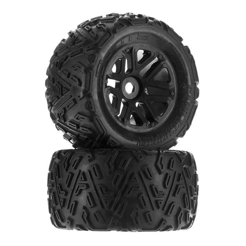 1/8 Sand Scorpion MT 6S Front/Rear 2.8 Pre-Mounted Tires, 17mm Hex, Black (2)