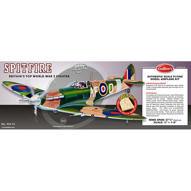 Supermarine Spitfire Laser Cut Kit, 16.5""