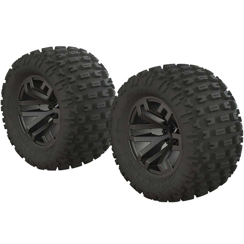 1/10 dBoots Fortress MT 2.2/3.0 Pre-Mounted Tires, 14mm Hex, Black Chrome (2)